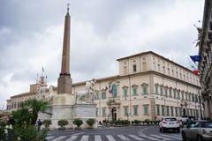 En sikt av yttersidan av den Quirinal slotten i Rome Royaltyfri Bild
