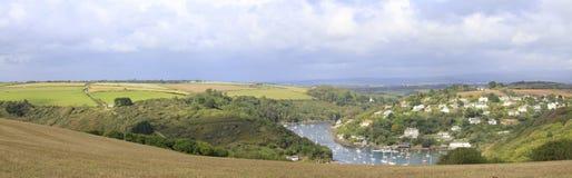 En sikt från Burghön, Devon Arkivbild
