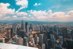 En sikt från den mest högväxta byggnaden i Kuala Lumpur arkivbild