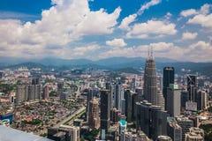 En sikt från den mest högväxta byggnaden i Kuala Lumpur fotografering för bildbyråer