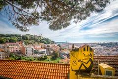 En sikt från miradouroen da Graça Royaltyfri Foto