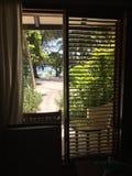 En sikt från rummet i det Kurumba hotellet, Maldiverna Arkivfoton