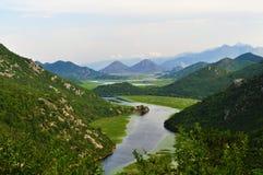 En sikt från Skadar sjönationalparken - Montenegro arkivfoton