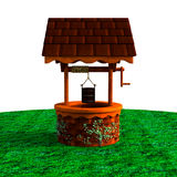 En sikt på en liten träbrunn Royaltyfria Bilder