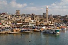 En sikt till den gamla delen av Saida arkivbilder