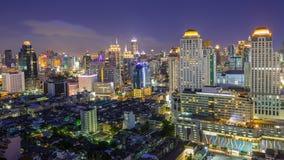 En sikt över den stora asiatiska staden av Bangkok Arkivfoto