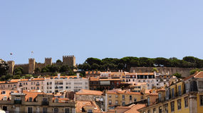 En siktsdel av staden Lissabon. Arkivbild