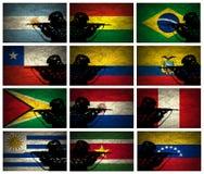 South America militärstyrka stock illustrationer