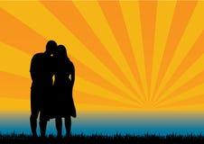 En silhouettes aimées Photographie stock libre de droits