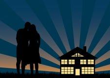 En silhouettes aimées Photo libre de droits