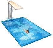 En simbassäng med en ung pojke Arkivfoton