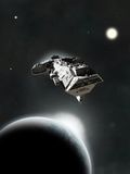 En sistema, crucero de batalla de la ciencia ficción stock de ilustración