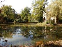 En sjö i frodigt naturligt landskap 3 arkivfoto