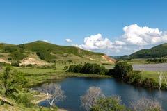 En sjö i grässlätt Royaltyfri Fotografi