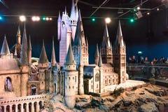 En skalamodell av Hogwarts den Warner Brothers studion Royaltyfri Bild