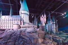 En skalamodell av Hogwarts den Warner Brothers studion Royaltyfri Foto
