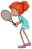 En skissa av en kvinnlig tennisspelare Royaltyfria Bilder
