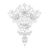 En skissa av härliga lotusblommor i en behagfull prydnad på en vit bakgrund Arkivfoto