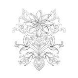 En skissa av härliga lotusblommor i en behagfull prydnad på en vit bakgrund Royaltyfri Bild