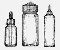 En skissa av olika flaskor Royaltyfri Bild