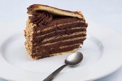 En skiva av chokladkakan med överträffa för sirap för choklad glansigt arkivfoto