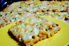 En skiva av hemlagad pizza Royaltyfria Bilder