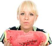 En skiva av wateren-melon royaltyfria bilder
