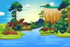 En skog med en djup flod royaltyfri illustrationer
