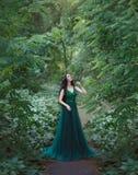 En skognymf, en dryad i ett lyxigt, smaragdklänning, går i skogprinsessan med sunt, långt svart hår royaltyfria bilder