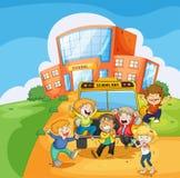 En skolbuss framme av skolan vektor illustrationer