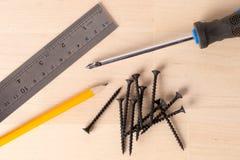 En skruvmejsel, en linjal, en blyertspenna och ligga för skruvar arkivfoto