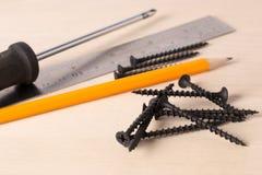 En skruvmejsel, en linjal, en blyertspenna och ligga för skruvar royaltyfri fotografi