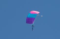 En skydiver som utför att hoppa med fritt fall med, hoppa fallskärm Arkivbild