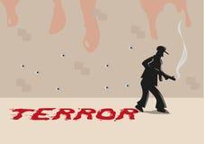 En skytt med skräcktypografi som göras av blodsudd Redigerbar gemkonst royaltyfri illustrationer