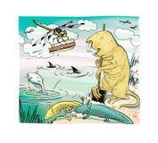 En slända med en hotdog, en ambistoaxolot och en naken tjalla-vågbrytare med en skyffel Ekologisk fasa Humoristiskt skissa Isoler royaltyfri illustrationer