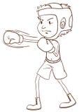 En slätt skissar av en boxare royaltyfri illustrationer