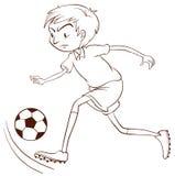 En slätt skissar av en fotbollspelare Royaltyfri Foto