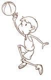 En slätt skissar av en manlig basketspelare vektor illustrationer