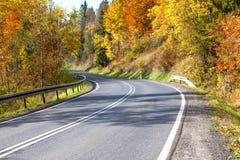 En slingrig asfaltväg under höst arkivfoton