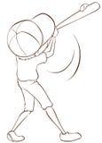 En slätt skissar av en manlig basebollspelare Arkivfoto