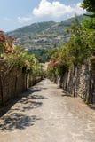 En smal brant gata med blommande oleander i Ravello Amalfi kust fotografering för bildbyråer