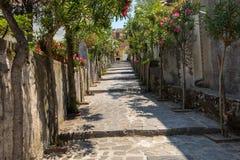 En smal brant gata med blommande oleander i Ravello Amalfi kust arkivbild