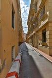 En smal gata i Monte - carlo Fotografering för Bildbyråer