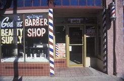 En small-town frisersalong Arkivbild