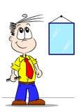 Tecknad filmpojke med hårkammen stock illustrationer