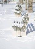 En snöig dag i den Northport byn Royaltyfria Foton