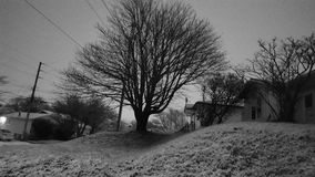 En snöig natt Arkivfoton