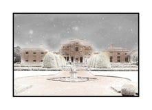 En snöig Shugborough Hall royaltyfria foton