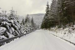 En snöig väg i bergen Arkivfoto