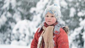 En snöstorm i December Pojken i en snöig skog stock video